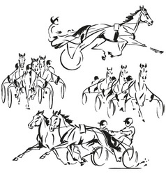 Sulky-four harness-racing themes vector