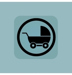 Pale blue pram sign vector