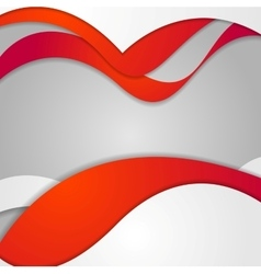 Red grey contrast gradient wavy design vector