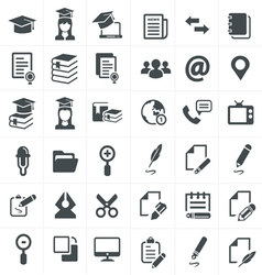 Black education icons set on gray vector
