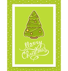 Green christmas tree with white hand writ vector
