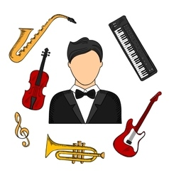 Musician and musical instruments icons vector