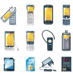 Mobile phones icon set vector