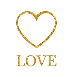 Valentines day golden glitter design element vector