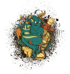 Funny monsters with grunge vector