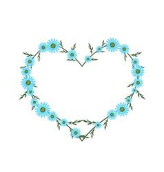 Beautiful light blue daisy flowers in heart shape vector