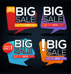 Big sale speech bubbles discount banner and label vector