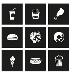 black fast food icon set vector image