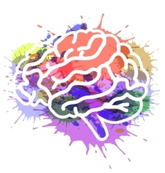 Brain on watercolor background vector