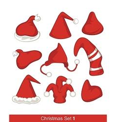 Christmas Hats Set vector image