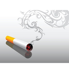 Cigarrette with decorative smoke vector image vector image