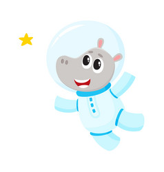 Cute little hippo animal astronaut spaceman vector