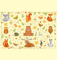 forest animals covered in ornamental patterns vector image vector image