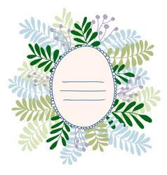Forest floral design frame berries fern vector