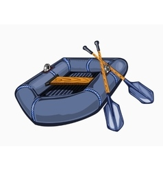 gray inflatable boat with oars vector image