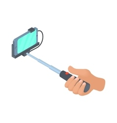 Hand holding selfie stick with phone icon vector image vector image