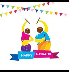 Happy navratri festival garba dance poster design vector