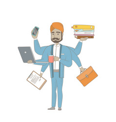 Hindu businessman coping with multitasking vector