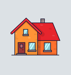 Isolated flat house home concept simple and vector
