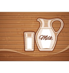 Jug and full glass with milk vector image vector image