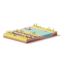 low poly landscape with highway and river vector image vector image