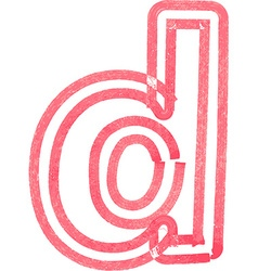 Lowercase letter d drawing with red marker vector