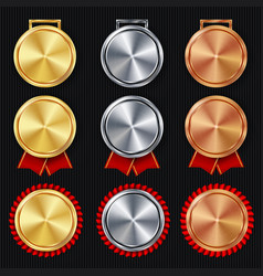 Medals blank set realistic first second vector