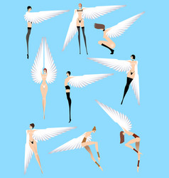 naked sexy angels isolated on a blue background vector image vector image