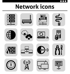 Network icons set black vector image