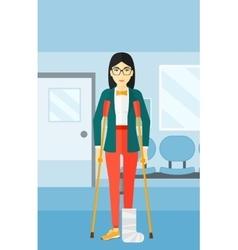 Patient with broken leg vector