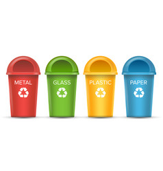 Recycling bins isolated set of red green vector