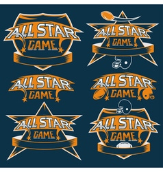 set of vintage sports all star crests with vector image vector image