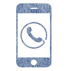 Smartphone phone fabric textured icon vector