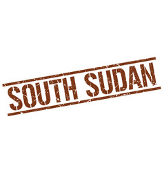 South sudan brown square stamp vector