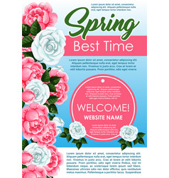 Spring season floral poster with rose flowers vector