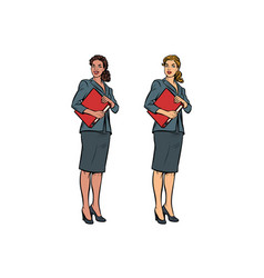 Two female accountant african american and vector