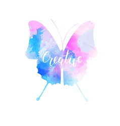 Watercolored butterfly in blue and pink colors vector