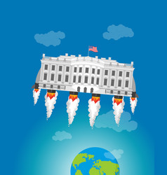 White house in space usa president residence vector