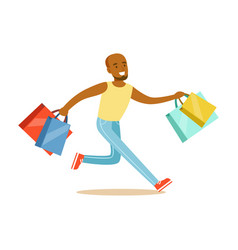 Young black man running with shopping bags vector