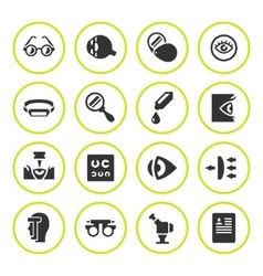 Set round icons of ophthalmology and optometry vector