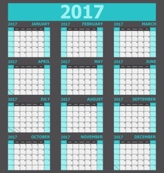 Calendar 2017 week starts on sunday light green vector