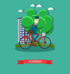 postman in flat style vector image