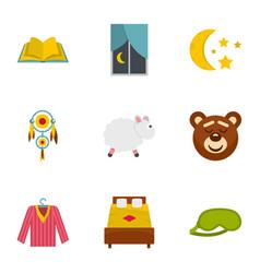 Time to sleep icon set flat style vector