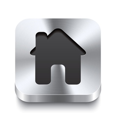 Square metal button perspektive - house icon vector
