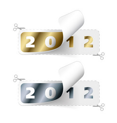 2011 2012 new year stickers vector