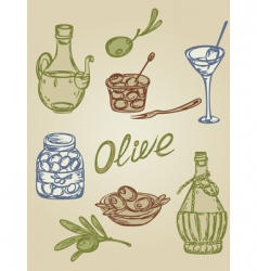 retro olive icons vector image
