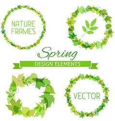 Set of spring frames on white background vector