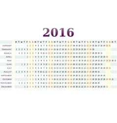 Horizontal calendar for year 2016 vector