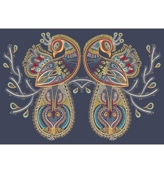 Ethnic folk art of two peacock bird with flowering vector