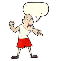 Cartoon violent man with speech bubble vector